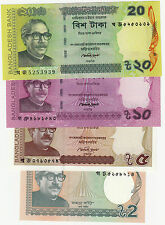 "BANGLADESH ""2/5/10/20 TAKA"" NOTE -- 1 Pcs EACH , TOTAL 4 NOTE ---  UNC CONDITION"