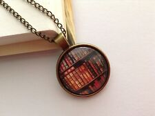 BOOKSHELF LIBRARY DESIGN CHAIN GLASS CABOCHON BRONZE SETTING PENDANT NECKLACE