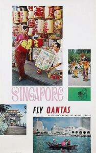 QANTAS AIRLINES SINGAPORE Vintage 1965 Travel poster 25x40 NM