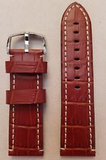 Hirsch 26mm Knight Brown Leather Watch Strap with Steel Buckle & White Stitching