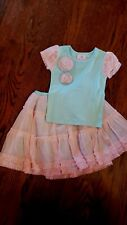 GIRLS NWOT BABY LULU RUFFLED SKIRT/T SHIRT TOP SET SIZE 2T