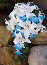 Artificial Wedding Bouquet Set Bridal Teardrop Silk Flower Orchid Lily