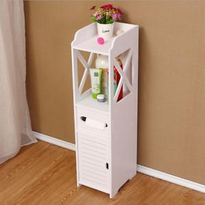White Wooden Bathroom Storage Cabinet Shelf Slim Cupboard Unit Free Standing UK