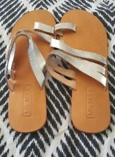 MS. MEL Silver Leather Flats Shoes Size 41 Bali Indo Boho Strappy Beach B52