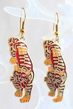 Elegant Red Genuine Cloisonne Enamel Tiger Pierced  Earrings 1970s vintage