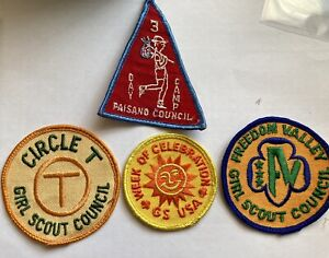 Girl Scout Patch 1970's Circle T Paisano Freedom Valley Lot 4 Patches
