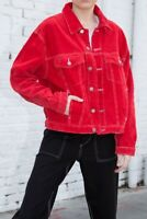 brandy melville red button up Kaylee corduroy jacket NWT sz S/M