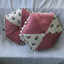 PAIR of dakotah leopard & plaid pink green white throw pillow hexagonal pompoms