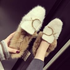 Womens Rabbit Fur Lined Shoes Loafers Slip On Metal Decor Warm Casual Flats New