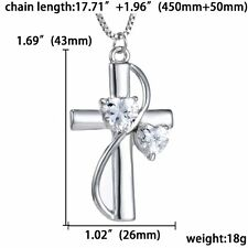 """Pretty Crystal Silver Plated Cross """"Faith Hope Love"""" Pendant Necklace Women HOT"""