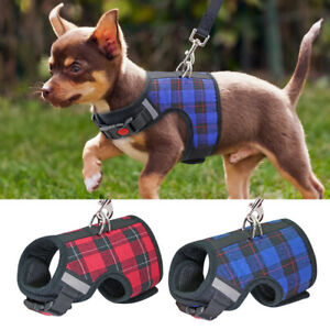 Cute Grid Small Dog Harness Breathable Soft Nylon Puppy Harness with lead set