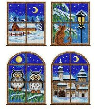 """Christmas Windows"" Counted  Cross Stitch kit with plastic canvas Orchidea 7652"