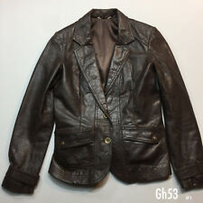 Promod Brown Leather Jacket Size GB12 EU40