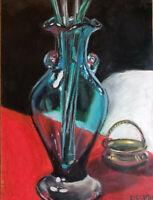 Original oil pastels painting 16x12 - Blue Glass Vase