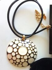 Joan Rivers Classics Collection Gorgeous Bold Enamel Pendant & Cord Necklace NIB