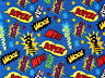 "MARVEL DC COMIC FABRIC SUPERHERO ACTION WORD ZOOM ZAP COTTON  16"" REMNANT SCRAP"