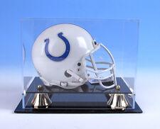 Mini football helmet acrylic display case Black Acrylic Base Gold Risers/P371