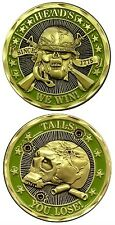 Military US Army Challenge Coin Heads We Win Tails You Lose New Scull Crossbone