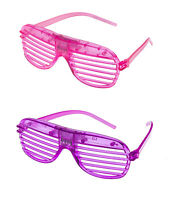 1 Purple 1 Pink Flashing LED Shutter Glasses Light Up Slotted Party Glow Shades