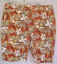 Size 12P 12 Petite Shorts Stretch Tiger Lily Cute for Summer Tropical Print Sojo