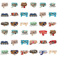 Wholesale Lot Boho Multilayer Stone Crystal Bangle Beaded Bracelets Jewelry Set