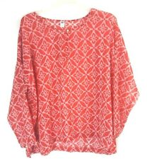 Old Navy Top XL Red Floral Lattice Print Sheer Long Sleeve Blouse Women's *New