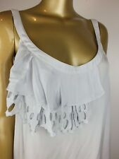 SUSSAN SILVER TANK CAMI BLOUSE TOP TUNIC SHIRT EMBROIDERED FRILL 14