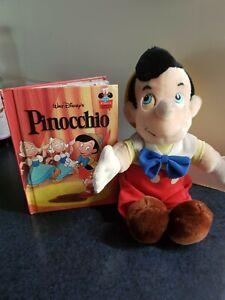 "VINTAGE 12"" WALT DISNEY PINOCCHIO BOY PLUSH TOY DOLL DISNEYLAND & STORY BOOK"