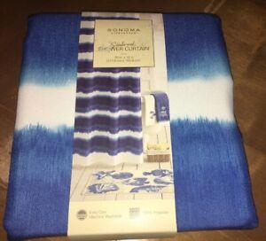 "Sonoma Seabrook Fabric Shower Curtain Wave Blu/Wht 70""x72"" Beach Ocean"