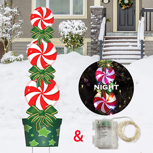 Outdoor Christmas Decorations -47In Candy Xmas Yard Stakes Signs with String New