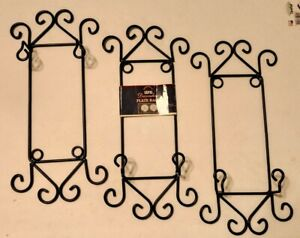 """Plate Rack Holder. Metal Wall Hanging 15 1/2"""" tall """"Home Decor"""" wrought iron"""