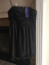 Max Azria / Miley Cyrus. Black And Gold Dot Rouched Chiffon Party Dress, Size L