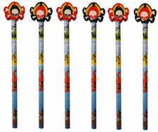 6 Pirate Pencils & Erasers - Pinata Rubbers Loot/Party Bag Fillers Wedding/Kids