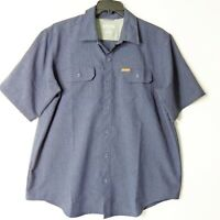 Orvis Mens XL Blue Button Up Shirt Front Pockets Short Sleeve Vented Fishing