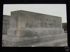 Glass Magic lantern slide Terlincthun Cemetery Rememberance Stone Ww1
