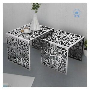 Aluminium Coffee Table Nesting Table End Table Silver – 2 pcs