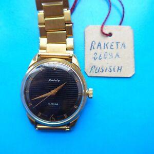 """Good """" Raketa """" Men's Wrist Watch,Cal. """" 2609-A """",Approx. 1965,Uhrmacherüberholt"""