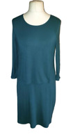 White Stuff Dress UK 18 Cav Teal Layered Keyhole Long Sleeve Plus Size