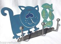 Cat Fish Wall Plaque Rack 3 Hook Laser Cut Metal Painted Handcrafted Heavy Duty