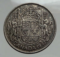 1943 CANADA WWII Time SILVER 50 Cents Coin UK King GEORGE VI Coat-of-Arms i62884