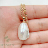 14-22mm White Baroque Pearl Pendant 18 inches Necklace South Sea DIY light