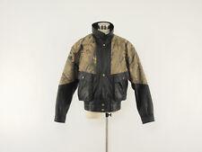WEBSTER'S LEATHER Vintage Black-Camo Motorcycle Hunting Bomber Jacket M