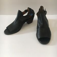 LUCKY BRAND Barimo Women's Black Leather Peep Toe Ankle Booties Size 7.5 M