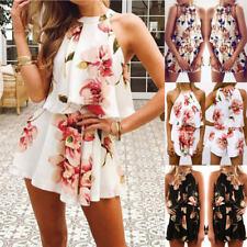 Women Floral Summer Beach Vest Tops Blouse T-Shirt Crop Tops + Shorts Pants Set