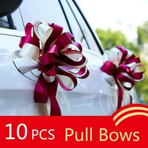 10 PCS Wedding Car Gift Wrap Pull Bows Two Tone Ribbon Wing Mirror Decor Large