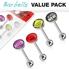 4 Pcs Tongue Ring Value Pack of Assorted Word Logos Surgical Steel body piercing