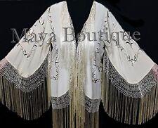 Silk Embroidered Fringe Kimono Flapper Jacket Vanilla Maya Matazaro Usa Made