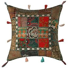Traditional Cotton Couch Pillow Green 17x17 Patchwork Floral Cushion Cover