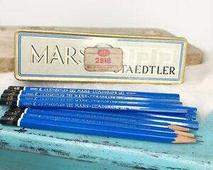 Vtg Mars Staedtler Germany Artists Tin Pencil Box 11/6H Blue Pencils Lumochrom