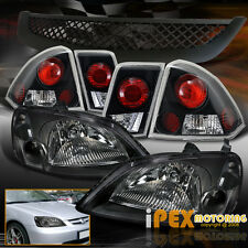 2001-2003 Honda Civic 4Dr Sedan JDM Black Headlights + Tail Lights + Mesh Grill